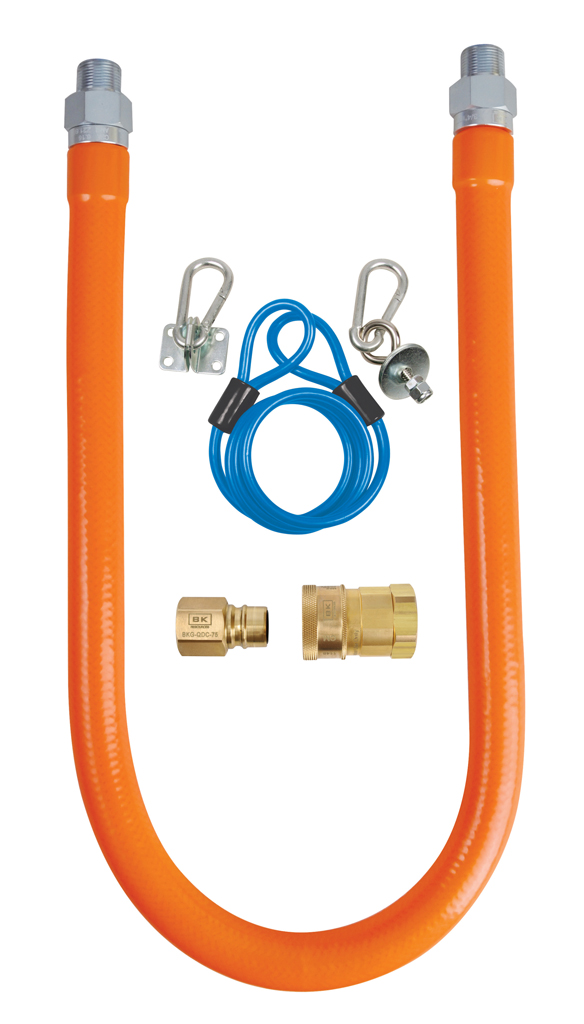 BK BKG-GHC-7548-SCK2 GAS HOSE CONNECTION KIT 3/4X48, COMES WITH HOSE, QUICK-CONNECT FTGS AND RESTRAINING MC369165