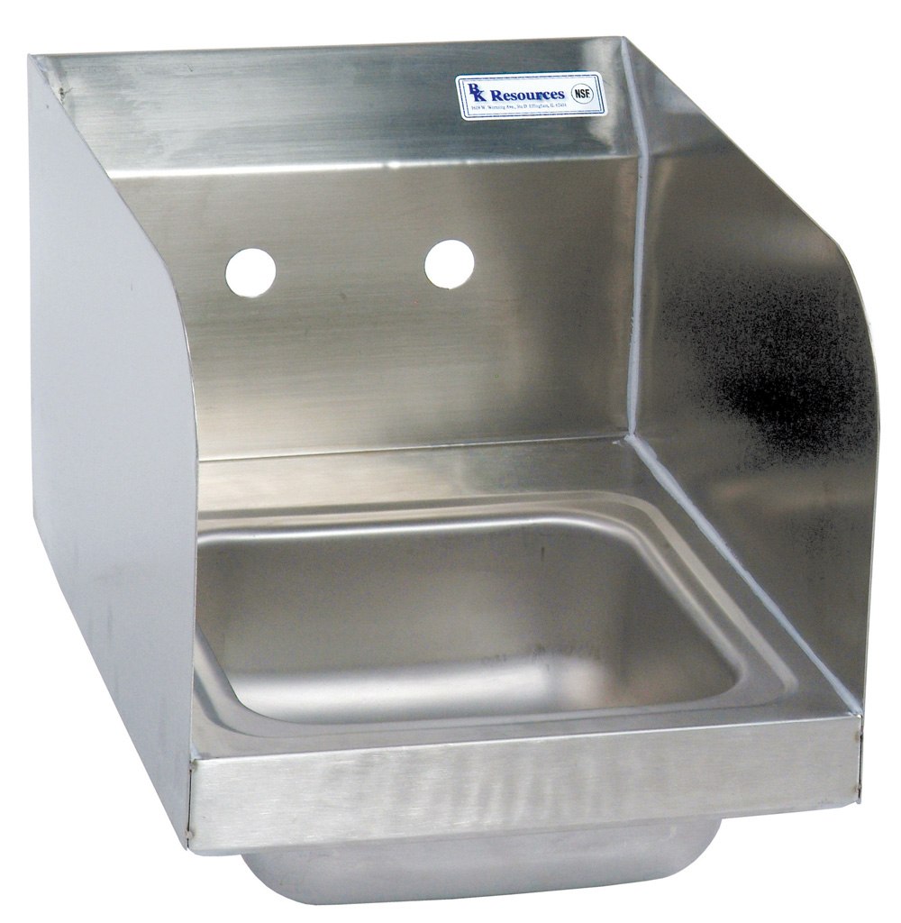 SM SPACE SAVER HAND SINK 2 HOLE W SIDE SPLASHES