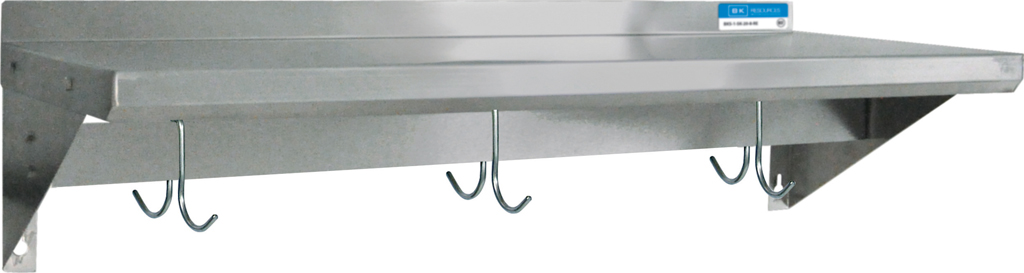 16 X 24 SS T-430 18 GA WALL SHELF WITH POT RACK
