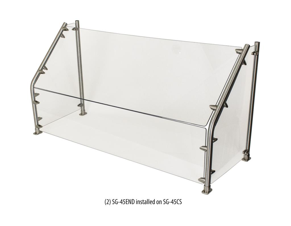 "24"" CAFETERIA 45 ANGLED SNEEZE GUARD GLASS"