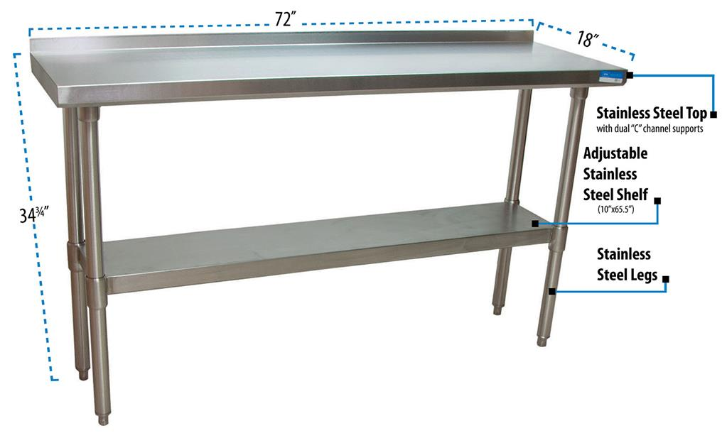 "18"" X 72"" T-430 18 GA TABLE SS TOP WITH 1.5"" RISER"