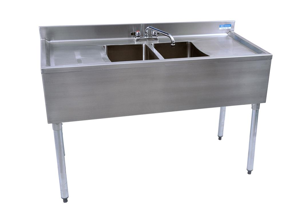 "21""X48"" UNDERBAR SINK W/ LEGS 2 BOWLS TWO DB"