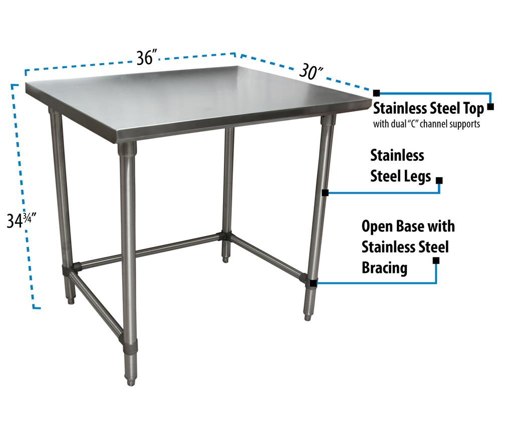 "36"" X 30"" T-430 18GA SS TABLE TOP OPEN BASE"