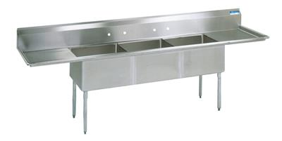 "3 COMP SINK 24X24X14D 2-24"" DB"
