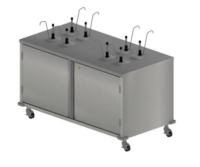 DOUBLE SIDED CONDIMENT CART W/8 PUMPS 4 CONDIMENTS
