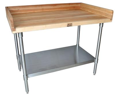 "HARD MAPLE BAKERS 4"" 3-SIDED RISER TABLE 48 X 36"