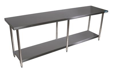 14 GA. 84 X 24 TABLE SS TOP 18 GA SS SHELF