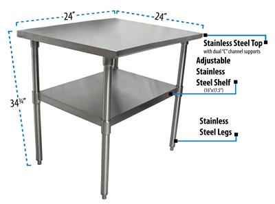 "24"" X 24"" T-430 18GA SS TABLE TOP AND BASE"