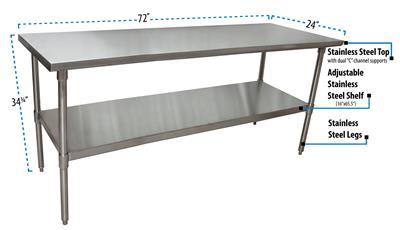 "72"" X 24"" T-430 18GA SS TABLE TOP AND BASE"