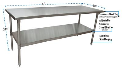 "72"" X 30"" T-430 18GA SS TABLE TOP AND BASE"