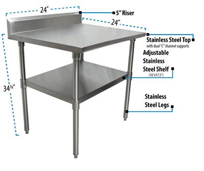 "24"" X 24"" T-430 18 GA TABLE SS TOP 5"" RISER"